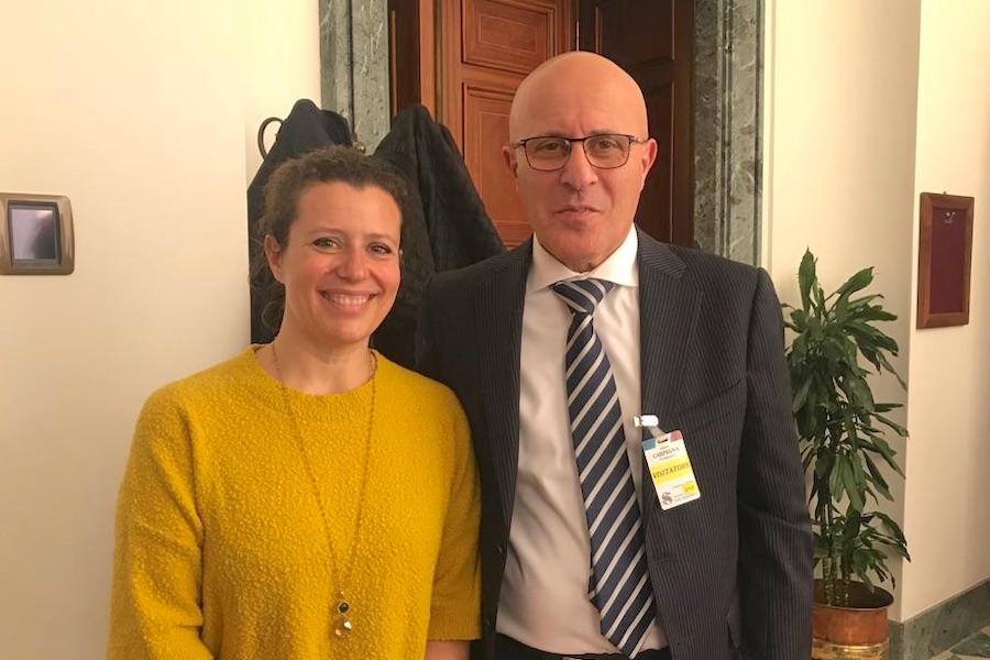La senatrice Caterina Biti con il Presidente di ANBI Toscana e del CB3 Marco Bottino